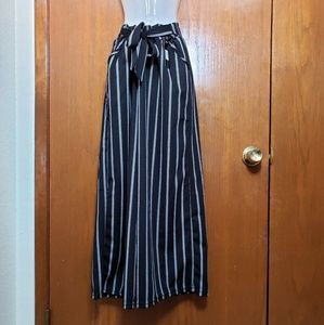 Lemite Black/White Striped Skirt Pants